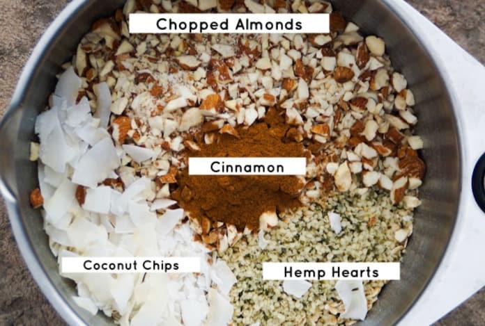 Granola ingredients, labeled