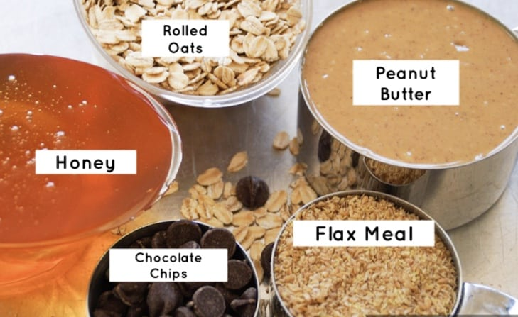 Energy bite ingredients, labeled