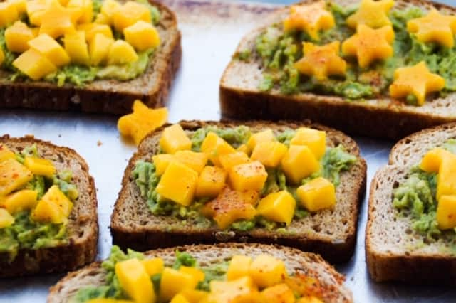 pieces of mango avocado toast