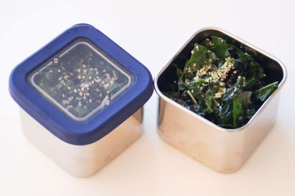 kale salad in square stainless steel lunch containers