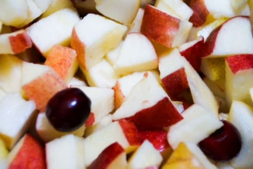 apples and pears chopped, with a few cranberries