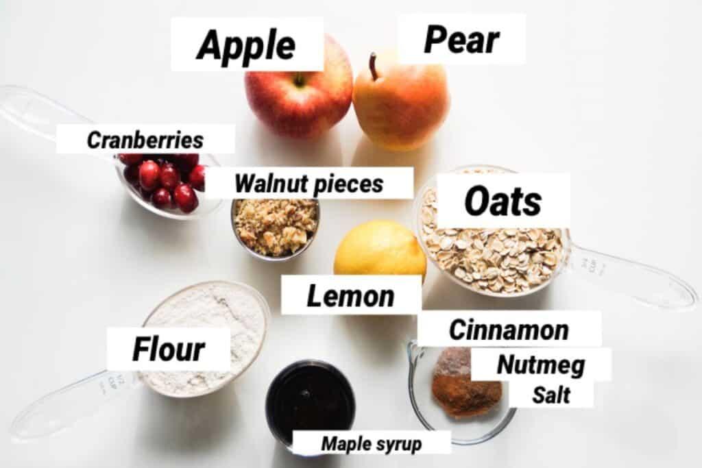 apple pear crisp ingredients, labeled