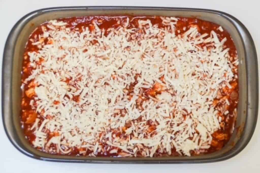 lasagna, assembled in a 9x11 baking dish