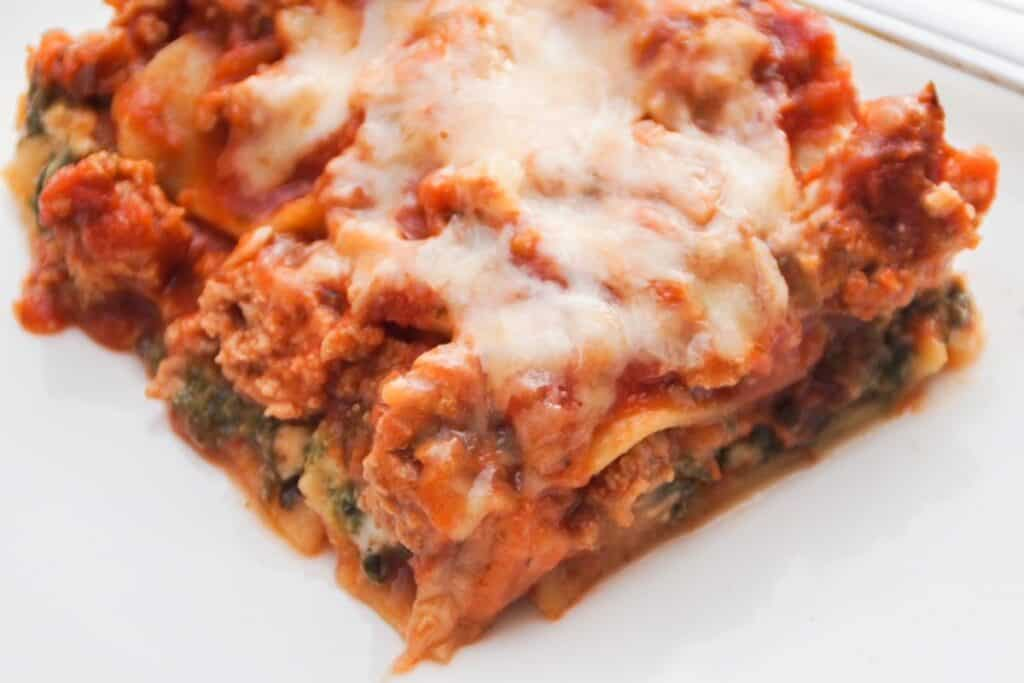 one square piece of lasagna