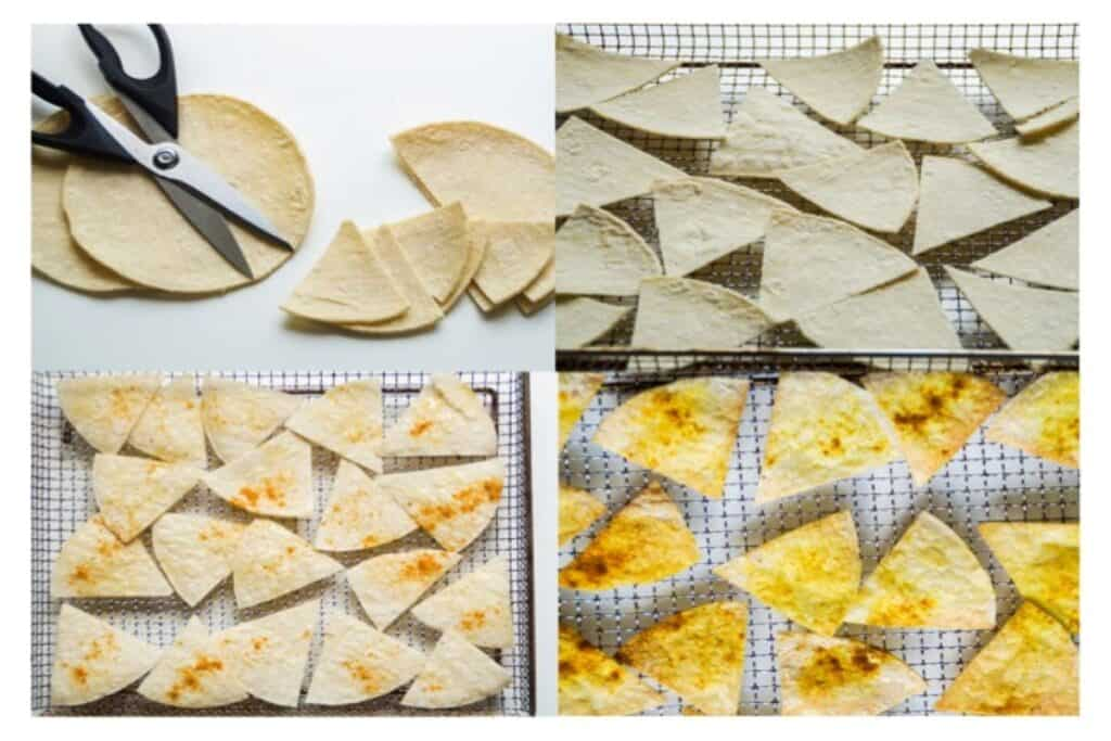 air fryer tortilla chips, four steps a collage