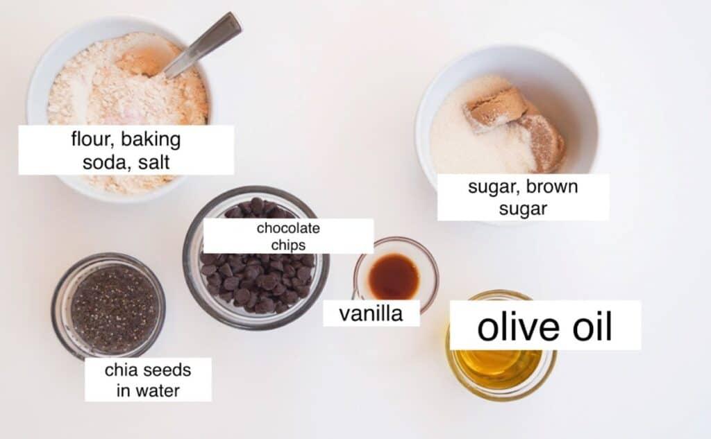 vegan blondie ingredients in separate bowls, labeled