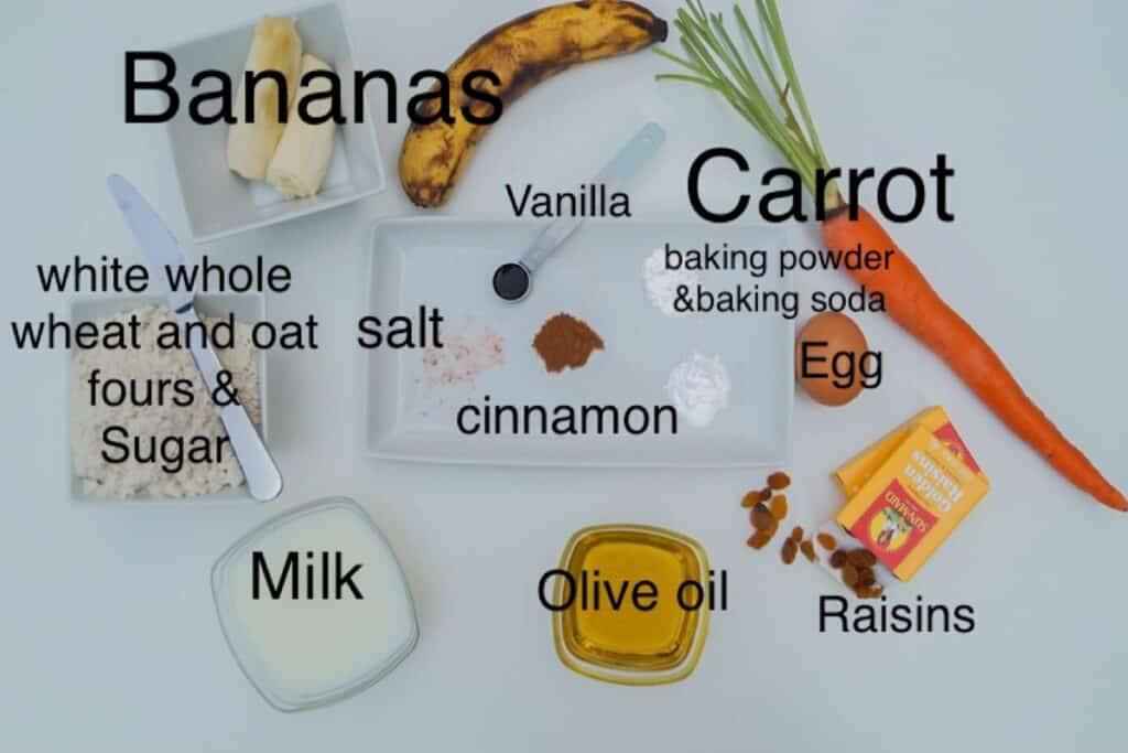 banana carrot muffin ingredients, labeled