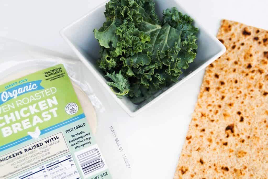 healthy chicken wrap ingredients side by side