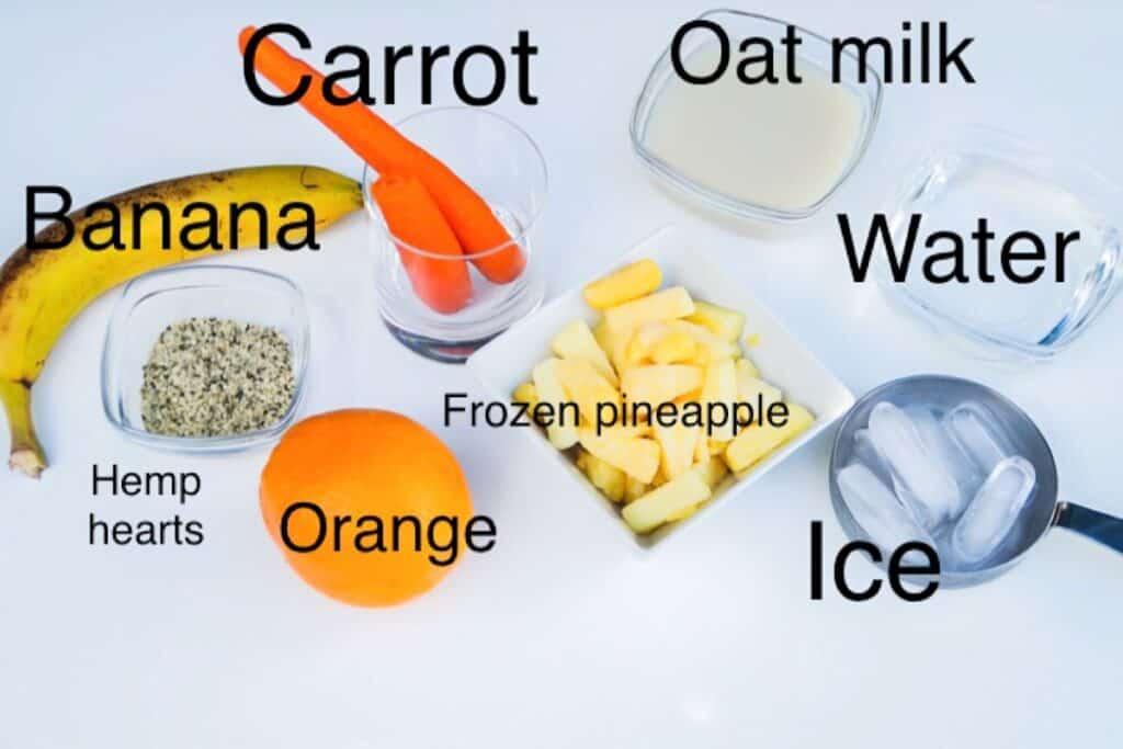 orange carrot oat milk smoothie ingredients, labeled