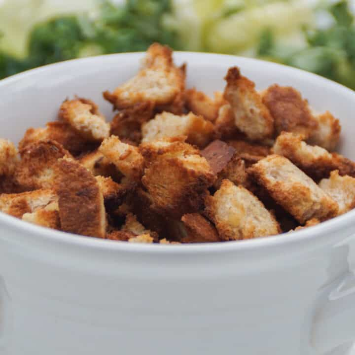 croutons in a white bowl.